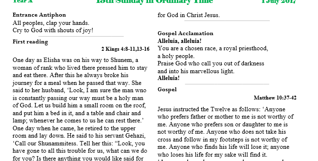Bulletin 13th Sunday Ordinary time
