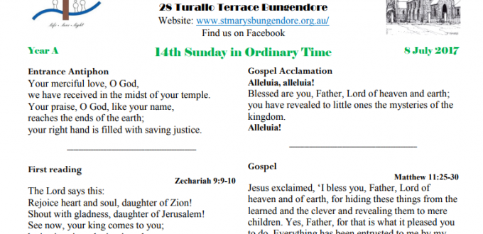 Bulletin 14th Sunday Ordinary time