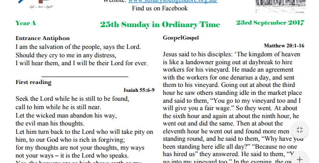 Bulletin 25th Sunday Ordinary time