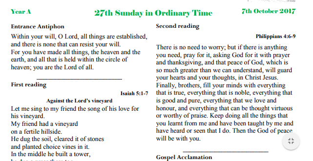 Bulletin 27th Sunday Ordinary time