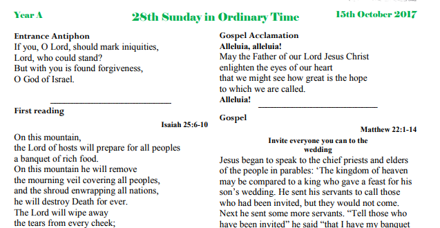 Bulletin 28th Sunday Ordinary time