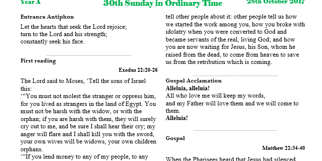 Bulletin 30th Sunday Ordinary time