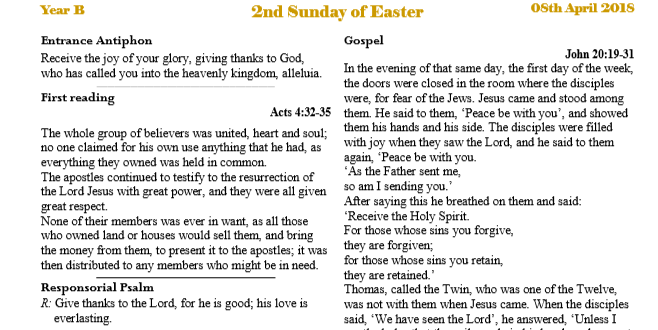 Bulletin 2nd Sunday of Easter Year B