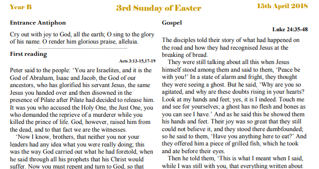 Bulletin 3rd Sunday of Easter Year B
