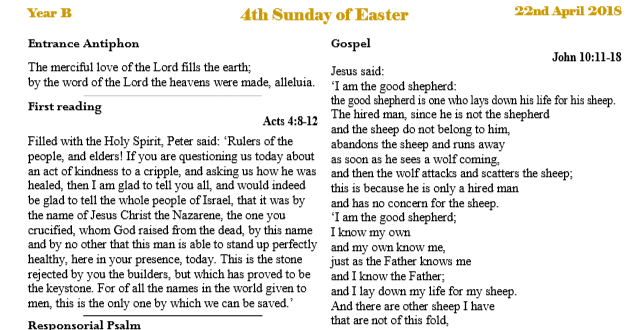 Bulletin 4th Sunday of Easter Year B
