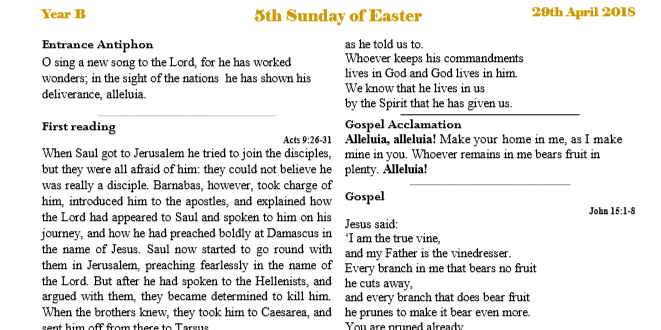 Bulletin 5th Sunday of Easter Year B