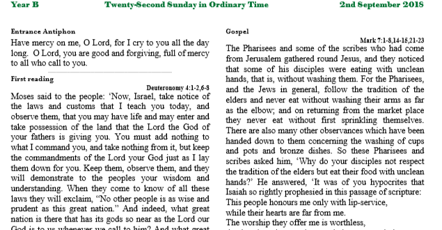 Bulletin 22nd Sunday in Ordinary Time