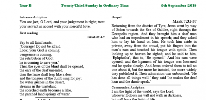 Bulletin 23rd Sunday in Ordinary Time