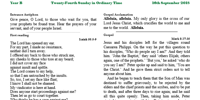 Bulletin 24th Sunday in Ordinary Time