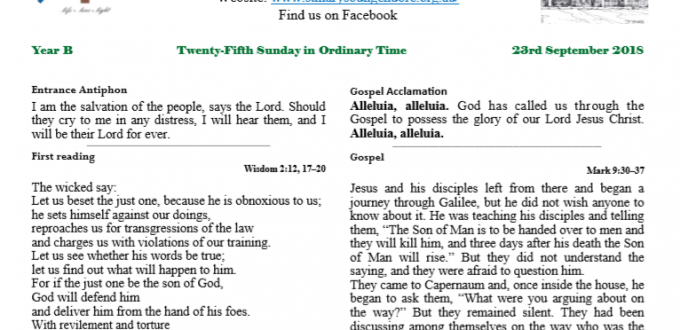 Bulletin 25th Sunday in Ordinary Time