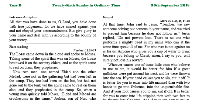 Bulletin 26th Sunday in Ordinary Time