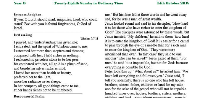 Bulletin 28th Sunday in Ordinary Time