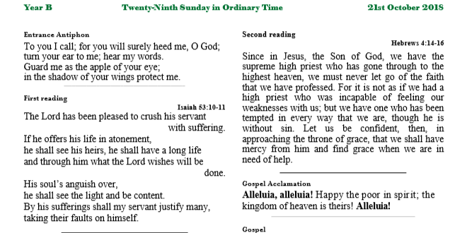 Bulletin 29th Sunday in Ordinary Time