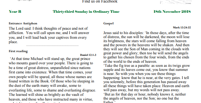 Bulletin 33rd Sunday in Ordinary Time