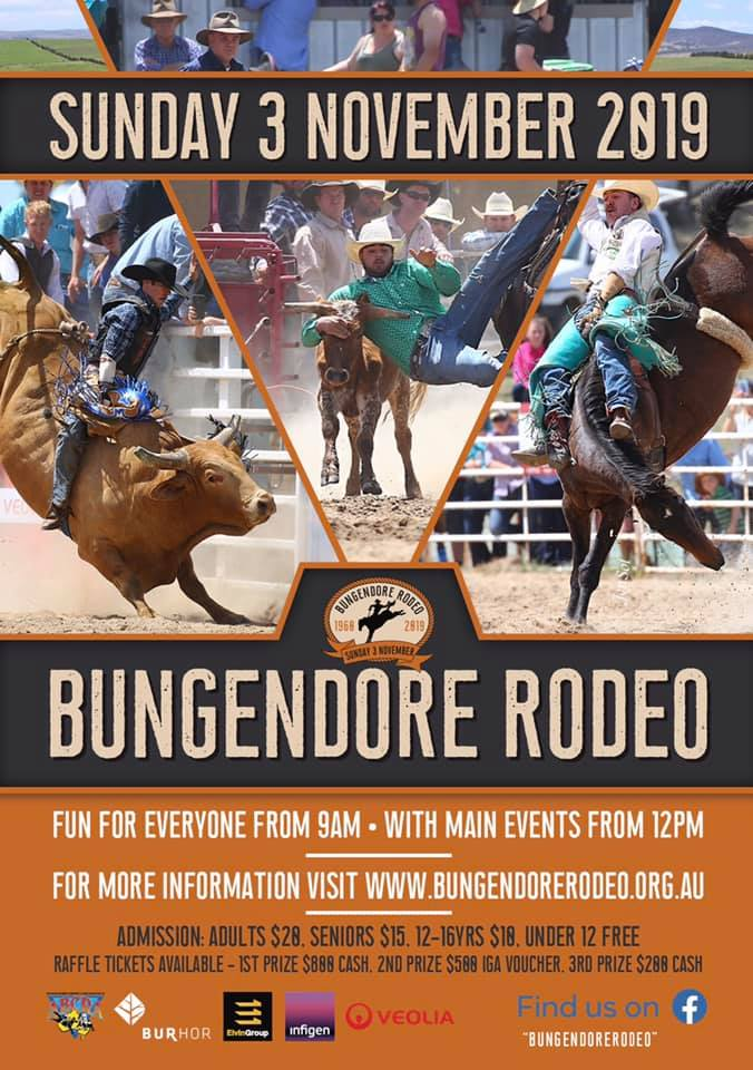 Bungendore Rodeo - Sunday 3rd November from 9am. Admission: Adults-$28, Seniors- $15, 12-16yrs $18, Under 12- Free